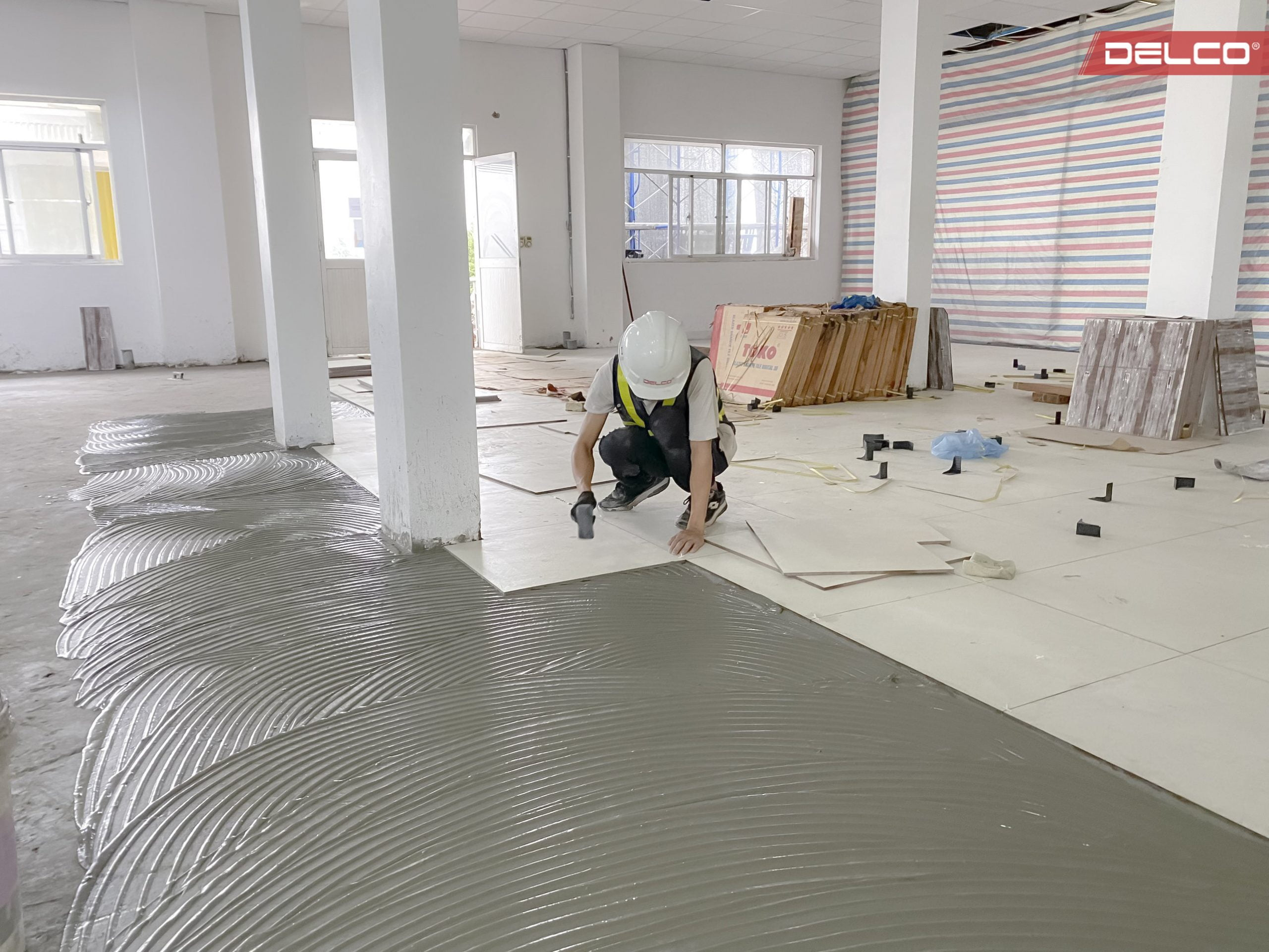 Floor tiling work